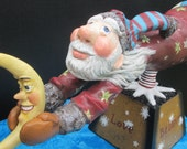 REDUCED Christmas OOAK Prim Folk Art OOAK Flying Santa Claus Holding A Smiling Moon Original Mixed Media Hand Made Clay Art