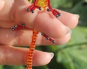 Red Flame Beaded Dragon Miniature Sculpture