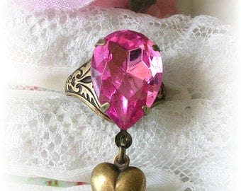 Vintage Style Adjustable Ring Pink Stone Puffy Heart Charm Dangle Tear Pear Drop Ring Brass Etched Antiqued