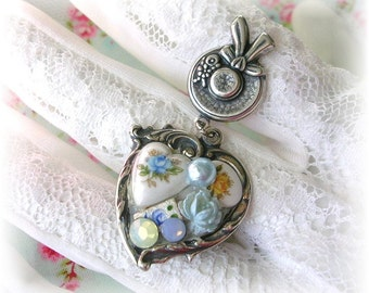 Victorian Vintage Style Heart Charm Ring Mosaic Collage Assemblage Roses Flowers Guilloche Enamel Hat Sterling Silver Plated Adjustable Ring