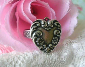 Vintage Style Heart Charm Ring Floral Flowers Sterling Silver Brass Adjustable Band