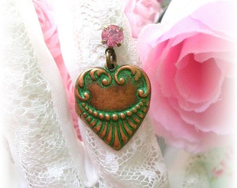 Victorian Style Heart Charm Ring Pink Crystal Bead Green Patina Rose Brass Ring Adjustable
