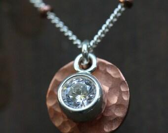 Copper Cubic Zirconia Disk Necklace