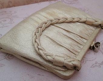 Gold Lame Bag, Vintage Metallic Gold Bag, metallic fabric, braided handle, gold handbag, evening bag, new years eve, gold lame fabric