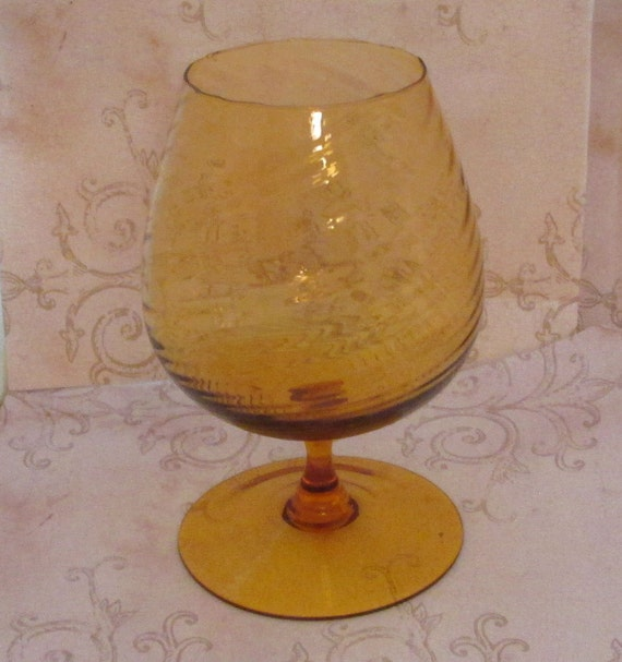 Large Brandy Glass Vintage Amber Glassware Hand By