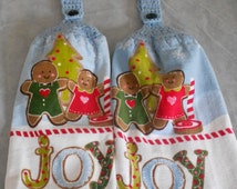 Christmas Crochet Top Towel Set Gingerbread Boy and Girl Christmas Towel Set Granny Towel Set Crochet Handle top Christmas Towel Set