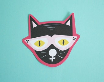 Cool Cat Sticker Matte Finish Hand Cut