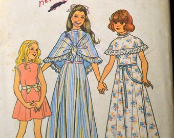 Vintage Sewing Pattern Simplicity 7413 Girls' Dresses and Shawl size 12 &14  Uncut Complete FF