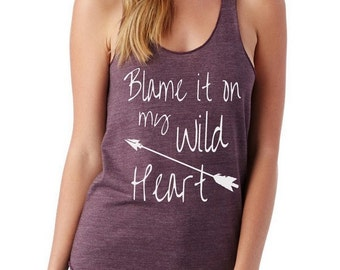 Blame it on my WILD HEART Ladies Heathered Tank Top Shirt screenprint Alternative Apparel