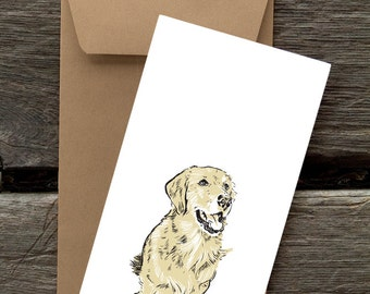 Golden Retriever with Gift-- 8 Blank flat cards and envelopes