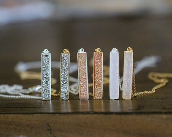 Druzy Bar Necklace , Gold or Sterling Silver Bezel Pendant in 3 Color Choices , Bohemian Bridal Fashion - Brick