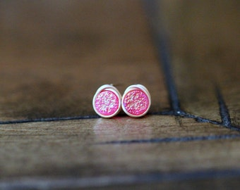 Druzy Studs ,  Hot Pink Post Earrings , Gold , Sterling Silver , Rose Gold , Minimalist Everyday Fashion - Micros ( Sweet Pea )