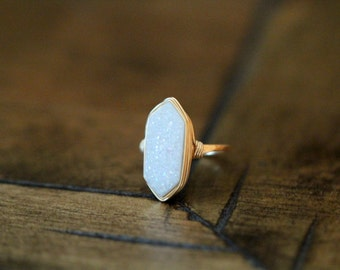 Druzy Hexagonl Gold Ring , White Statement Gemstone Ring , Gold , Sterling Silver , Rose Gold , Gift Ideas - Cottontail