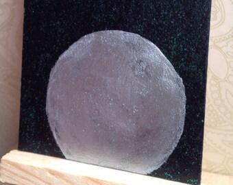 Moon ACEO, Full Moon Art Card, Silver Moon ATC, Magical Altar Art, Mini Painting, Silvery Moon and Sparkling Stars ATC, Glittering Stars