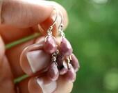 Pink Gemstone Cluster Earrings . Pink Teardrop Earrings Sterling Silver . Pink Stone Earrings . Rhodonite Earrings - Victoria Collection