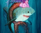 Mermaid & Great White Shark Signed Print by Mister Reusch