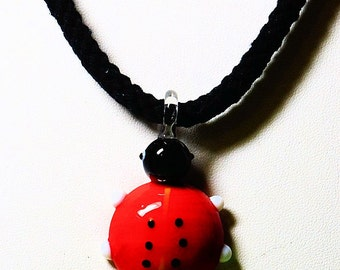 Lampwork Glass Ladybug Pendant, Black Braided Cord Necklace, Red and Black Ladybug