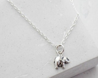 Tiny Elephant Necklace | Good Luck Charm Necklace | Talisman | Delicate Everyday Jewelry | Sterling Silver