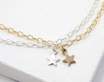 Star Charm Bracelet | Layered Stacking Bracelet | Delicate Everyday Bracelet | Tiny Charm Bracelet | Celestial Jewelry | Silver or Gold
