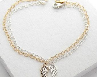 Angel Wing Bracelet | Layered Stacking Bracelet | Delicate Everyday Bracelet | Tiny Charm Bracelet | Silver or Gold