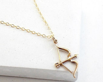 Bow and Arrow Necklace | Delicate Everyday Jewelry | Arrow Charm Pendant Necklace | Silver or Gold