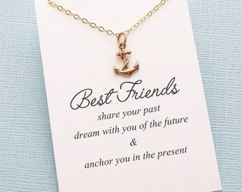 Friendship Necklace | Anchor Necklace, Best Friend Gift, Best Friend Necklace, Gift for Bestfriend, BFF, Bestie, Best Friend Birthday| F03