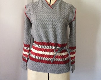 1970's Sweater Gray and Burgundy Stripe Lace Textured Waist Cinch Mr. Fine Vintage Size 16