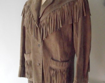 Suede Fringe Jacket Cowgirl Boho Festival 1960s 1970s Small Medium J&K Originals