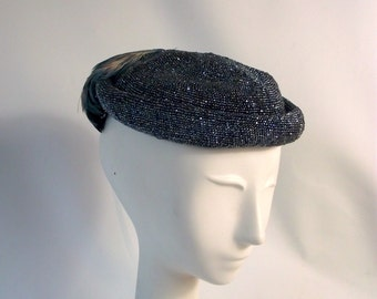 Stunning 1940's Beaded Hat Beret Topper Blue Grey Aurora Borealis Sparkle