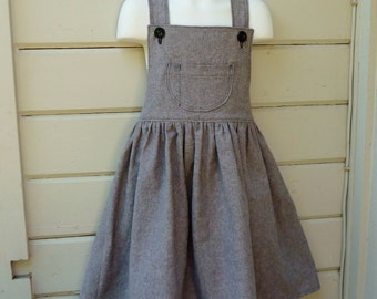 Bibbed Overall Skirt Ready to Ship in Girls Size 7 or Made to Order in sizes 2 through 7