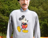 vintage 70s sweatshirt MICKEY MOUSE disney character fashions heathered gray crew neck raglan Large Medium 80s