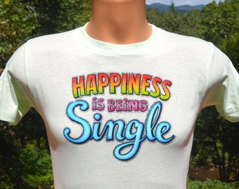 70s vintage tee HAPPINESS being single glitter sparkles iron on funny t-shirt Medium Small soft thin wtf