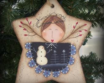 Primitive Angel Wood Star Ornament Holiday Christmas Home Decor Decoration