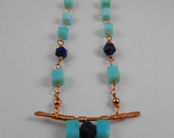 Handmade  Hammer Textured Copper , Peruvian Opal, Lapis Lazuli Wire Wrapped Necklace