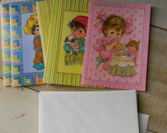 Set of five vintage Get Well Soon cards Bright Eyes
