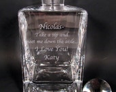 Groom's Personalized Etched Whiskey Decanter Scotch Decanter