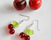 Cherry Earrings - Glass Cherry Earrings - Rockabilly Earrings - Cherry Jewelry - Rockabilly Jewelry - Cherry Chick - Red Earrings
