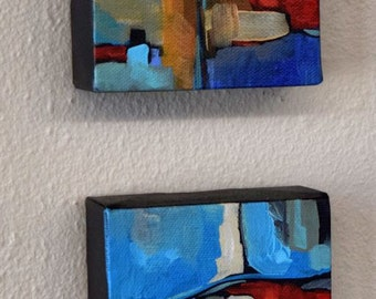 Contemporary Painting, FREE Priority Shipping, Collectibles, Blue, Abstract Painting, Original Acrylic Painting, Home Art, Miniature art