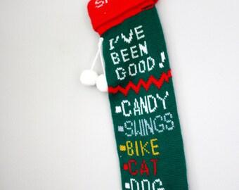 Vintage Santa I've Been Good Knit Stocking