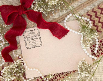 Self inking Holiday return address stamp - Holiday Christmas card custom rubber stamps --5752