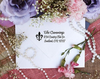 Self Inking Custom fleur de lis monogram return address rubber stamp --2372