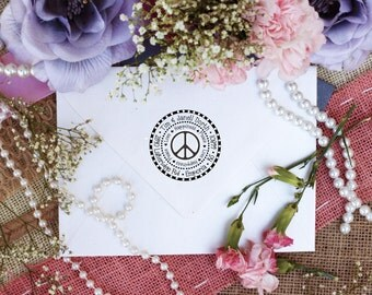 Peace love and happiness custom return address rubber stamp Peace Sign stamp --2518