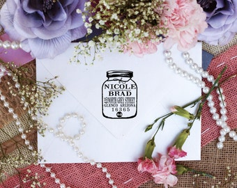 Self Inking Mason Jar return address rubber stamp custom stamps --3129