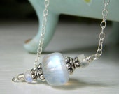 Rainbow Moonstone Necklace with Extender, Sterling Silver, Simple Gemstone Necklace Genuine Rainbow Moonstone Jewelry, Natural Stone Jewelry