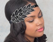 Flapper Beaded Headband Bandeaux Silver And Black Leaves