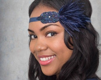 Mini Deco Flapper Feather Headband With Beaded Applique Midnight Blue Navy Sapphire Or Gunmetal Black