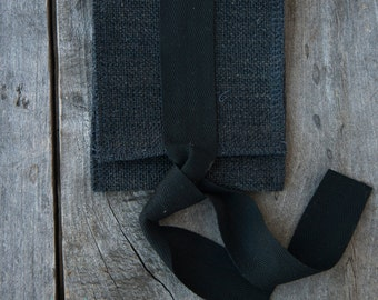 Pack of 10: Charcoal Linen USB Pouch