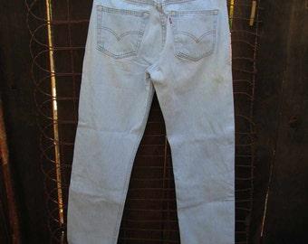 Bleached Levis 80s vintage jeans 80s Vintage Levis 501 Blue denim Jeans pale blue Levis USA Levi Jeans authentic distressed Trashed jeans