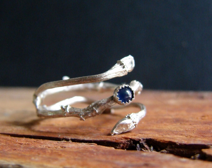 Twig Ring Sapphire Cabochon Witch Ring Ring Sterling Silver Botanical Ring September Birthstone