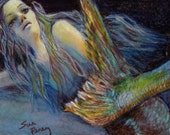 original art drawing aceo card woman mermaid underwater fantasy